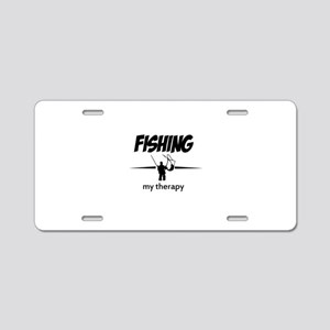 Fishing my therapy Aluminum License Plate