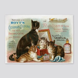 Cats, Vintage Poster 5'x7'Area Rug