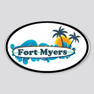 Fort Myers - Surf Design. Sticker (Oval)