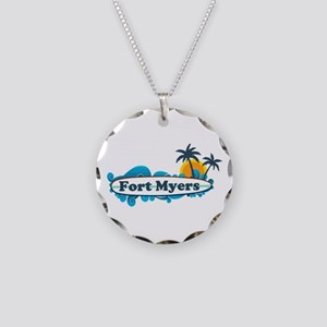 Fort Myers - Surf Design. Necklace Circle Charm