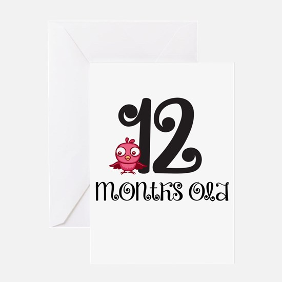 12 Months Old Baby Bird Greeting Card