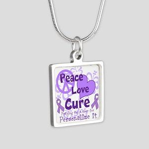 Purple Peace Love Cure Necklaces