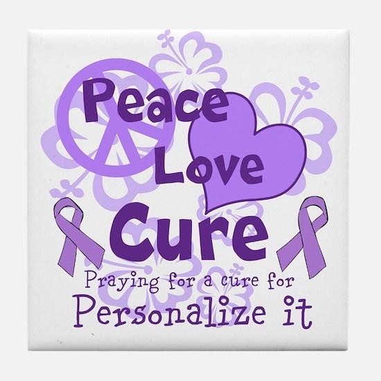 Purple Peace Love Cure Tile Coaster