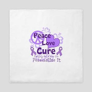 Purple Peace Love Cure Queen Duvet