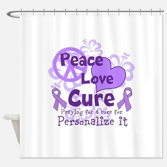 Purple Peace Love Cure Shower Curtain