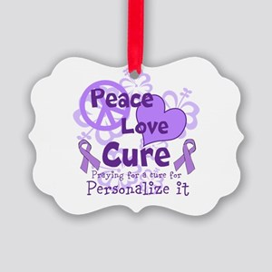 Purple Peace Love Cure Ornament