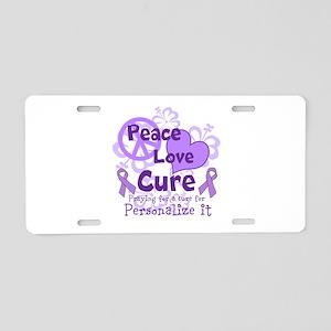 Purple Peace Love Cure Aluminum License Plate