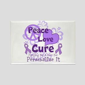 Purple Peace Love Cure Rectangle Magnet