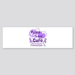 Purple Peace Love Cure Bumper Sticker