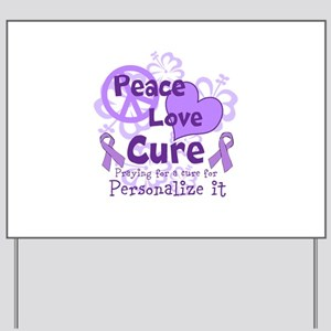 Purple Peace Love Cure Yard Sign