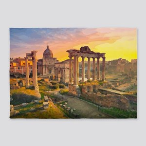 Rome Travel Ruins of Forum St Peters Sunset 5'x7'A