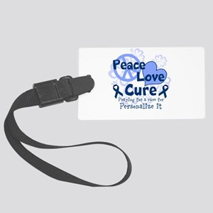Blue Peace Love Cure Luggage Tag