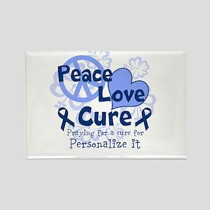 Blue Peace Love Cure Rectangle Magnet
