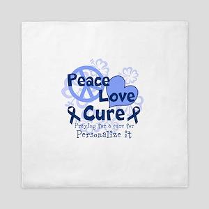 Blue Peace Love Cure Queen Duvet
