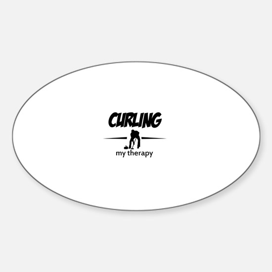 Curling my therapy Sticker (Oval)