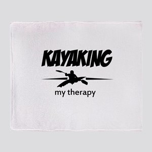 Kayaking my therapy Throw Blanket