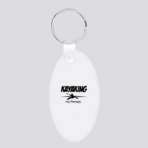 Kayaking my therapy Aluminum Oval Keychain