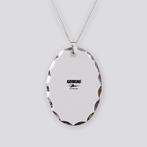 Kayaking my therapy Necklace Oval Charm