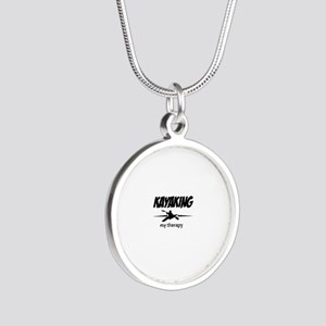 Kayaking my therapy Silver Round Necklace