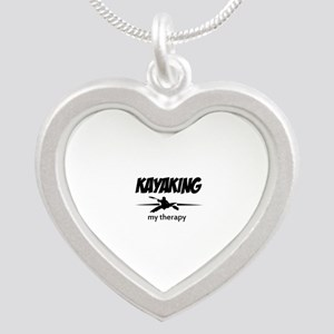 Kayaking my therapy Silver Heart Necklace