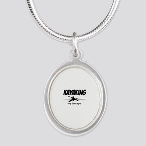 Kayaking my therapy Silver Oval Necklace