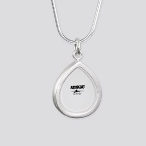 Kayaking my therapy Silver Teardrop Necklace