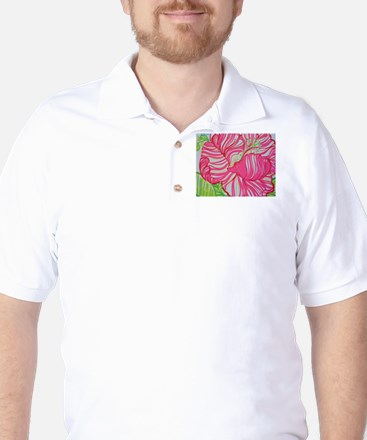 Hibiscus in Lilly Pulitzer Golf Shirt