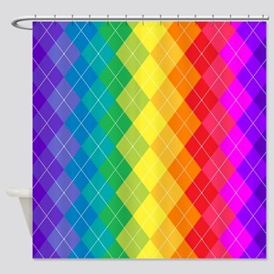 Rainbow Argyle Pattern Shower Curtain