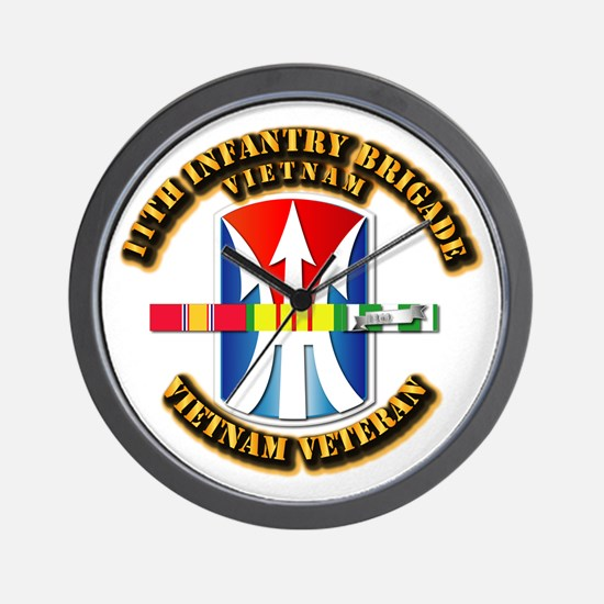 Army - 11th Infantry Bde w Svc Ribbons Wall Clock