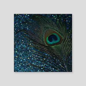 Glittery Aqua Peacock Sticker