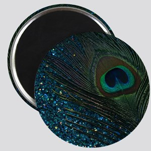 Glittery Aqua Peacock Magnet