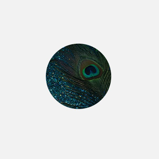 Glittery Aqua Peacock Mini Button