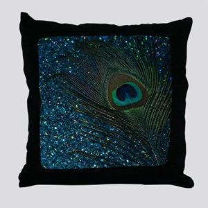 Glittery Aqua Peacock Throw Pillow
