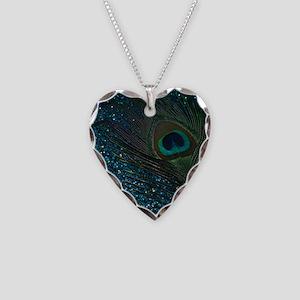 Glittery Aqua Peacock Necklace