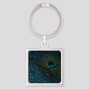 Glittery Aqua Peacock Keychains