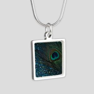 Glittery Aqua Peacock Necklaces