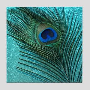 Metallic Aqua Peacock Tile Coaster