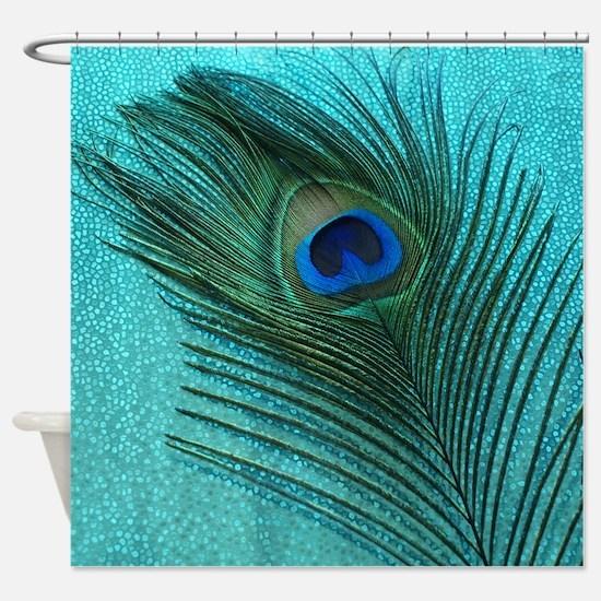 Metallic Aqua Peacock Shower Curtain