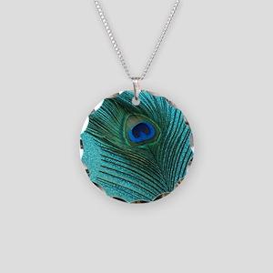 Metallic Aqua Peacock Necklace