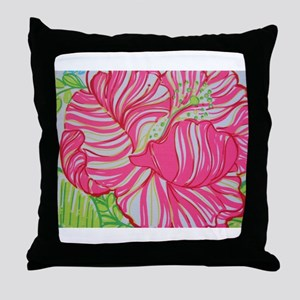 Hibiscus in Lilly Pulitzer Throw Pillow