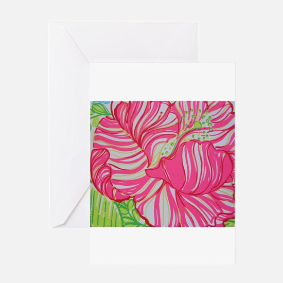 Hibiscus in Lilly Pulitzer Greeting Card