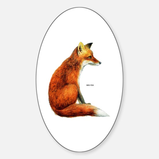 Red Fox Animal Sticker (Oval)