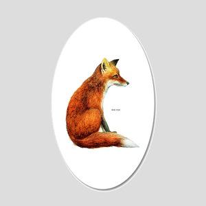 Red Fox Animal 20x12 Oval Wall Decal