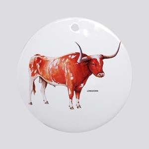 Longhorn Texas Cattle Ornament (Round)