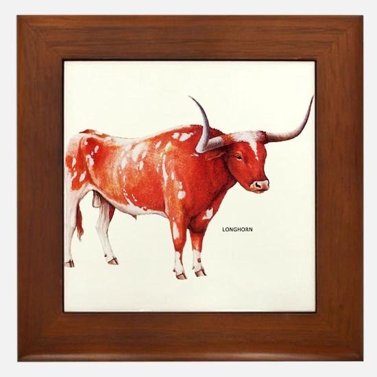 Longhorn Texas Cattle Framed Tile