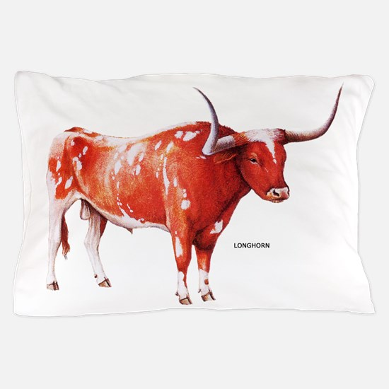 Longhorn Texas Cattle Pillow Case