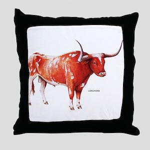 Longhorn Texas Cattle Throw Pillow