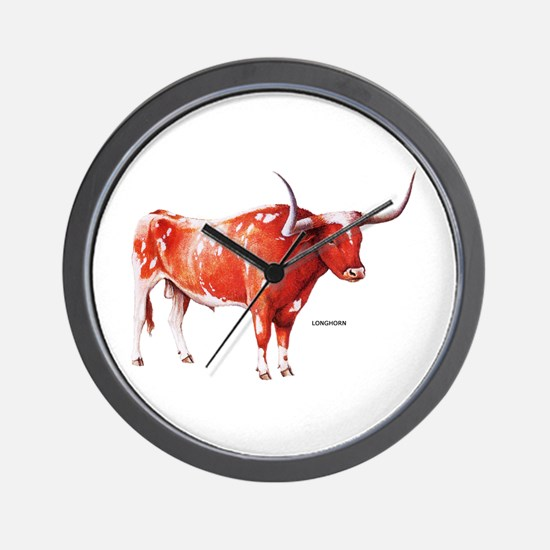 Longhorn Texas Cattle Wall Clock
