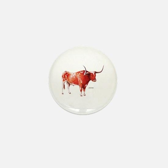 Longhorn Texas Cattle Mini Button