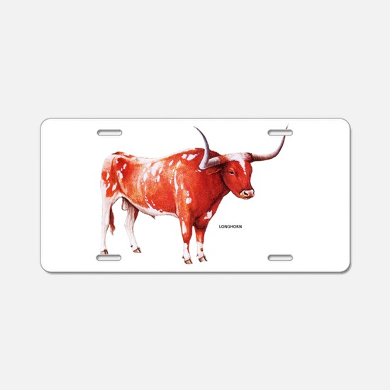 Longhorn Texas Cattle Aluminum License Plate